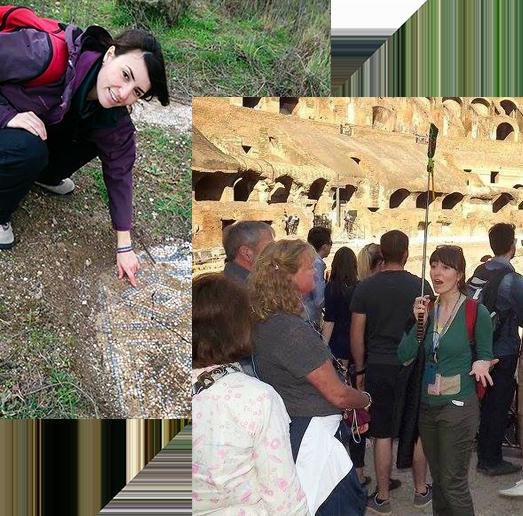 Manuela Manfrè guida turistica mentre mostra dei reperti archeologici durante una visita turistica